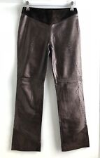 Gianfranco Ferre Brown Bronze Leather Dress Pants Size 26 40 Made In Italy
