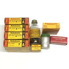 Lot o 4 Unopened Kodachrome Dbl 8 Type A 25' Film, Filter, Cement,Canister,Film
