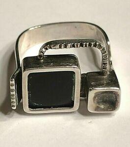 Designerring 925er Silber mit Onyx