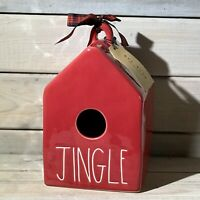Rae Dunn Red Ceramic JINGLE Square Birdhouse ~ NWT ~ 2020 Christmas Release