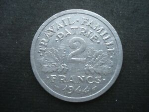 2 Franc Aluminium Coin France 1944 Beaumont-le-Roger Mint