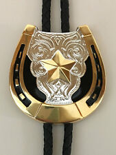 Western Bolo Tie Horse Shoe Texas Star Silver/Gold