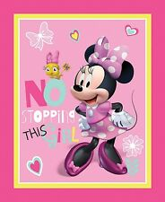 Disney Minnie Pink No Stopping This Girl 100% cotton Fabric by the panel