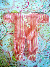 Vintage Striped Flannel Footsie Doll Pajamas With 'Doggie' Detail