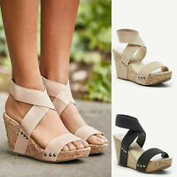 Women Ladies Platform Slingback Sandals Elastic Cross Strap Wedge Peep Toe Shoes