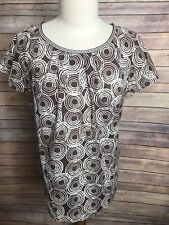 Boden Sz US 10 UK 14 Brown Cream Circle Short Sleeve Blouse Shirt 100% Cotton