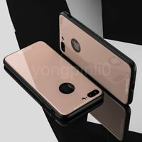 For iPhone X 10 7 8 6 CHROME Hybrid 360 New Shockproof Case Tempered GLASS Cover