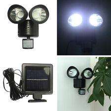 NEW 22 LED Dual Head Solar Power PIR Motion Sensor light Outdoor Wall Lamp Black