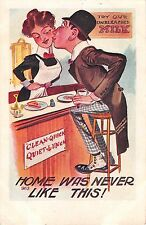 Man Leaning Across Lunch Counter To Kiss Waitress-Old Comic PC-Home Was Never Li