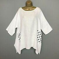 UK 16 18 20 22 24 26 28 30 32 NEW 9498 Plus Size Spring Womens Vintage Lagenlook Linen Plus Size Blouse Plus Size Clothing Summer Shirt