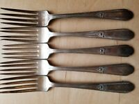 "5 ANTIQUE VINTAGE COLLECTIBLE FORKS 7"",WM ROGERS A1 PLUS,SILVER PLATED"