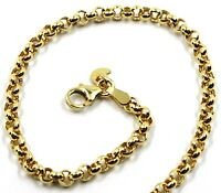 9K YELLOW GOLD BRACELET ROLO CIRCLE LINKS 3.5 MM THICKNESS, 7.5 INCHES, 19 CM