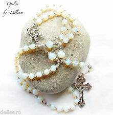 ✫OPALITE✫ GEMSTONE WHITE HANDCRAFTED 5 DECADE ROSARY (Boxed)