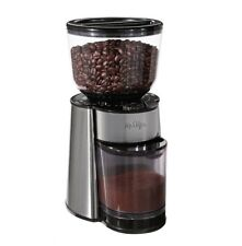 Mr. Coffee Grinder Automatic Burr Mill Spices Herbs 18 Custom Set Grinds Silver