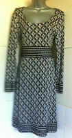LK Bennett100%Silk Jersey Long Sleeved Black/White  Shift Dress Contrast Trim 12