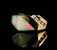 KABANA SIGNED NATURAL AUSTRALIAN LIGHTNING RIDGE FIRE OPAL DIAMOND 14K GOLD RING