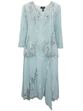 Women's 2 PCS SET DUCK-EGG Sequin Embellished Midi Dress & Cover
