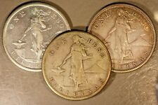 1907S,'08S,'10S Philippines Silver Peso Lot of 3 Coins  ** FREE U.S. SHIPPING **