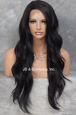 "Heat Safe long Wavy Layered LACE FRONT WIG Soft Off Black L Mono Part 24"" AUR 1B"