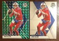 2020 Panini Mosaic Josh Allen Green Prizm & Base Bills SP #26 Lot Of 2 Cards