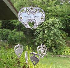 """Vtg Pewter Hearts """"Welcome Family Friends"""" Wind Chime Indoor/Outdoor~Excellent"""
