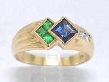 Tsavorit Ring 750 Gelbgold 18Kt Gold natürliche Tsavorite  Iolith und Brillanten