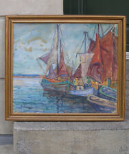 Interesting Impressionist French harbour view with fishing boats. 1920s. Signed.
