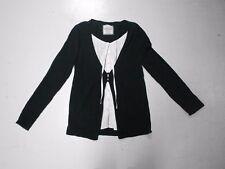 Haut Esprit L 40  gilet pull fausse chemise noir blanc