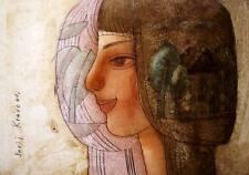 Óleo sobre cartón sueños/Original Por Jurij kravcov/35.5 X 25 cm/Casa árboles