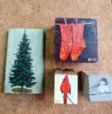 GROUP OF FOUR MINI OIL PAINTINGS ON OLD WOOD.  CHERYL KORB