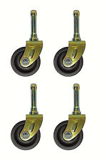 SET OF (4) BED  FRAME LOW CASTER WHEELS WITH SOCKET INSERTS