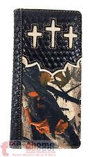 Western Men's Camo Bi-Fold Camouflage Rodeo Wallet Woven Pattern 3 Crosses Black