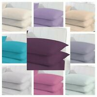 2 x Pillow case Percale Plain Dyed Poly Cotton Housewife Bedroom Pillow Covers