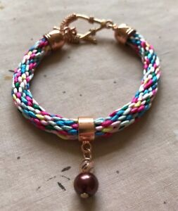 "Multi-Coloured Satin Cord Kumihimo 7"" Bracelet with Pearl & RGP Bead Charm"