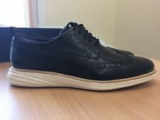 Cole Haan Men's Grand Evolution Wingtip Black Leather-Ivory Shoes size 8.5 UK