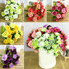 Best 21 Heads Fake Silk Flowers Bouquet Artificial Wedding Floral Decor Plant