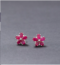 Natural Ruby Gemstone Fashionable & Victorian Style Earring 925 Sterling Silver