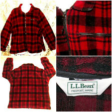 VTG LL Bean Mens XXL Black & Red Buffalo Plaid Full Zip Fleece Jacket USA Made