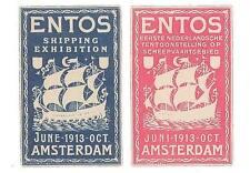 ERINNOPHILIE - 2 VIGNETTE ENTOS AMSTERDAM 1913
