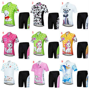Kids Cycling Clothes Set Boys Girls Cycle Jersey Top and Padded Bike Shorts Kit