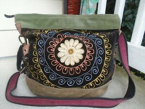 Lucky Brand multi color linen large duffle crossbody bag