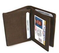 Brown Men's Genuine Leather ID Bifold 18+ Card Holder Center Flap Wallet