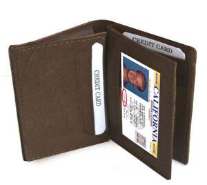 Brown Men's Genuine Leather ID Bifold 18+ Card Holder Center Flap Wallet