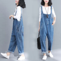 Women Cotton Denim Jumpsuits Overalls Pant Jeans Rompers Suspenders Bib Trousers
