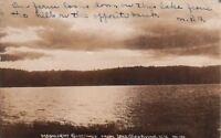 RPPC Postcard Moonlight Greetings Lake Cossayuna NY