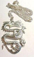 collier chaine pendentif dragon feuille couleur argent asiatique 4918