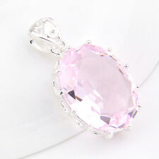 Lovely Wedding GIft Oval Sweet Pink Topaz Gemstone Silver Necklace Pendant P0093