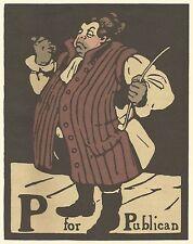 William Nicholson Gravure sur bois Imprimer 1898 P pour Publicain Alphabet Lithographie 1975
