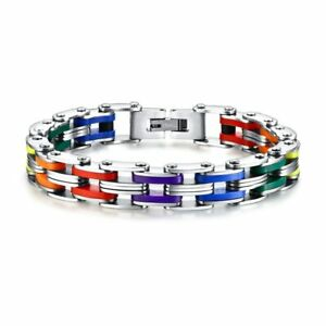 Silicone Stainless Steel Bracelet Men Bangle Rainbow Color 316L Stainless Steel