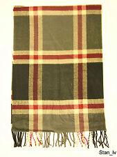 NEW Cashmere Scarf  Black Gray Plaid Checks Stripes Soft Warm Men Women  C2